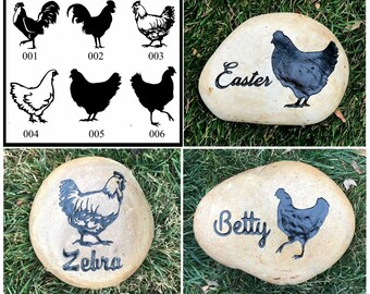 """CHICKEN ROOSTER or HEN Memorial (6 Different Designs) Stone 8"""", 6"""" Engraved & with Name.  Option to add Date, Little  Heart"""