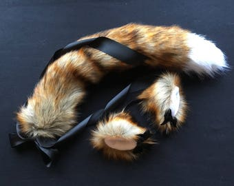 Luxury Red Fox- Wolf  Play Set Tail & Ears