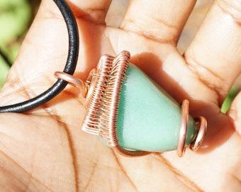 Green Aventurine Chakra Copper Pendant Necklace