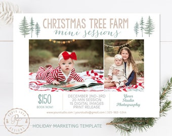 Christmas Mini Session template, Tree Farm Minis, Holiday Marketing, Photoshop Template, Instant Download, Mini Session Marketing