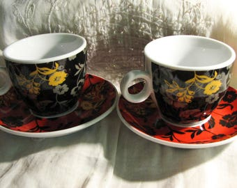 2 coffee cups porcelain with floral pattern