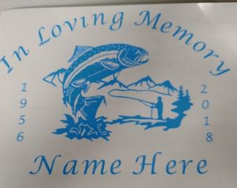 In Loving Memory vinyl fish decal - window decal - fishing - FREE SHIPPING