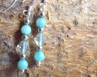 Sterling Silver Earrings with Green Quartz and Fluorite