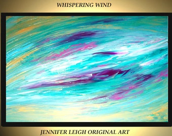Original Large Abstract Painting Modern Acrylic Painting Oil Painting Canvas Art Green Pink Gold Blue 36x24 Textured Wall Art  J.LEIGH