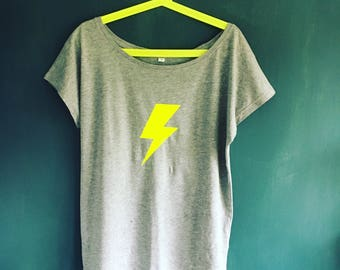 Neon lightening bolt scoop neck t shirt