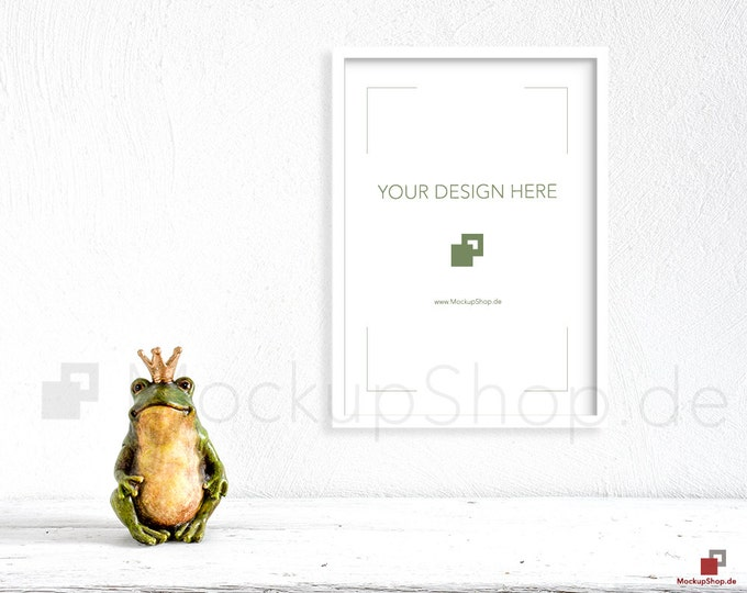 A3 white FRAME MOCKUP NURSERY frog prince vertical  / Scandinavian scene / Nordic Scene / stock photography / instant download