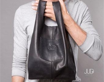 Soft leather tote bag - Black Leather bag - women bags SALE soft leather bag leather handbag - leather shoulder bag- shopper bag