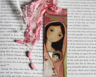 Madonna in Pink - Laminated Bookmark  Handmade - Original Art by FLOR LARIOS