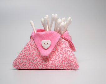 Mini basket, Thread Basket, Lipstick Holder, Bath and Beauty Catchall, Pink and White Small Cloth Triangle