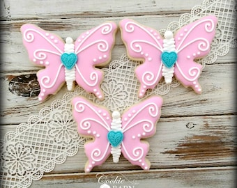 Butterfly  Mothers Day Easter Spring Birthday Floral Spring Decorated Sugar Cookies