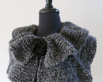 SALE - Charcoal Dark Gray Color Knitted Statement Capelet Ruffled Collar Cowl with Knitted Black Brooch