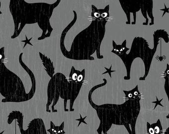 Halloween Fabric - Fangtastic Glow in Dark Black Cats Gray - Henry Glass YARD