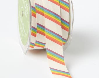 RAINBOW Cotton Trim - 5 yards - 3/4 inch ivory ribbon - sewing - wedding - favor ties - sewing - rainbow party - unicorn party