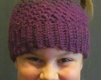 Messy Bun Hat ~ Size Medium ~ Gray and Purple