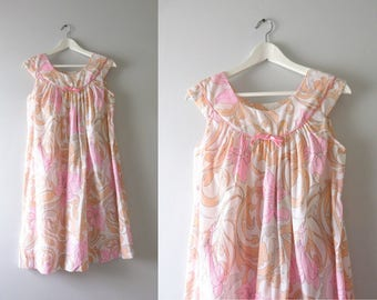 Vintage Pink Nightie | 1970s Komar Pink & Peach Flower Print Nightie M