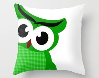 "Green Owl Throw Pillow 18"" x 18""   -  Novelty pillows, throw pillows, nursery pillows, green owl, nursery throw pillows"