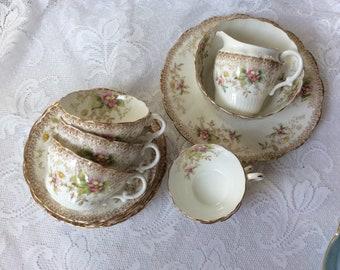 Vintage R&D 21 Piece Antique Victorian Teaset Floral pattern