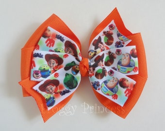 Toy Cowboy Bow - Spaceman Story Pinwheel Style Hair Bow - No Slip Velvet Grip Hair Clip