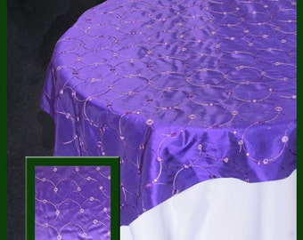 Taffeta 834 Table Overlay 58 X 58 Inches Square Tablecloth Cover [Purple][Turquoise][White]