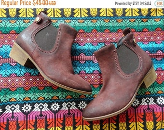 SALE Burgundy Leather Ankle Booties - Chelsea Boots - Size 37 6.5 7