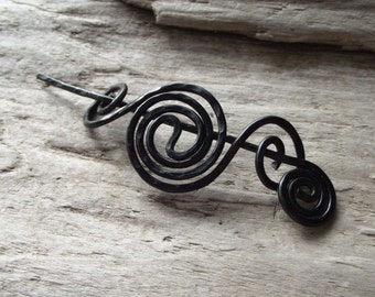 "Black Shawl Pin Scarf Pin- Aluminum  Wire Hammered Design-Halloween Black Gothic Shawl Pin - ""Small Black Hole"""
