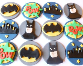 Batman Fondant Cupcake Toppers - Super Hero Themed Cupcakes uk