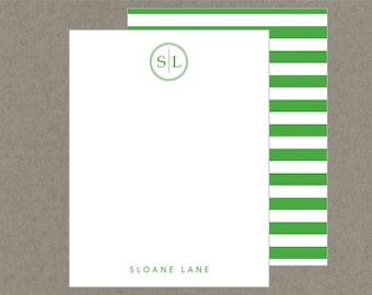 Set 20 Modern Circle Monogram Flat Note Cards with Envelopes - Preppy Green Stripes - Social Stationery