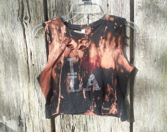 One of a kind custom bleached and destroyed  I Heart Love LA Los Angeles Crop Top ripped torn distressed shredded small xs street wear look