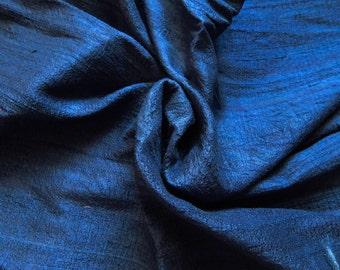 Pure Silk Fabric, Pure Dupioni Silk Fabric, Silk Fabric, Indian Silk Fabric, Navy Blue Silk Fabric