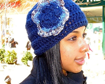 Crochet Beanie Hat With Flower, Navy Blue, Women,Teen, Ready To Ship,,
