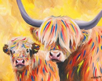 Yellow Cow and Calf Print