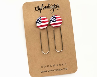 American Flag Giant Button Paper Clip Bookmarks, Stars and Stripes Bookmarks, Planner Accessories, Book Lover, Book Accessories, Team USA