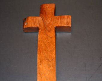 """Wood Wall Cross for your Cross Wall Decor; Rustic TX Mesquite;Original Crooked Cross; 4""""x7""""x1""""; Free Shipping USA; cc15-5060717"""