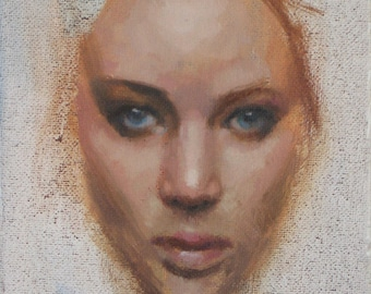 AMELIA Female Portrait Frontal 5x7 inches Face Head Original Oil Painting Young Girl Contemporary Realism Fine Art by DANIEL PECI Framed