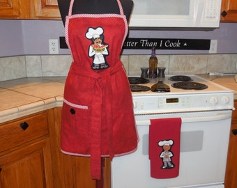 "Womens Bib apron, full apron, "" Sassy Chef, "" red, kitchen, cooking, vender, large pocket, MATCHING TOWEL"