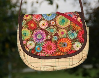 Stitched Plaid handbag - Green and Brown with Floral