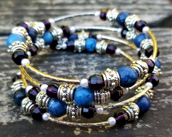 The Lady of Sector Two Memory Wire Bracelet: Blue, Purple, Silver (4 Loops)