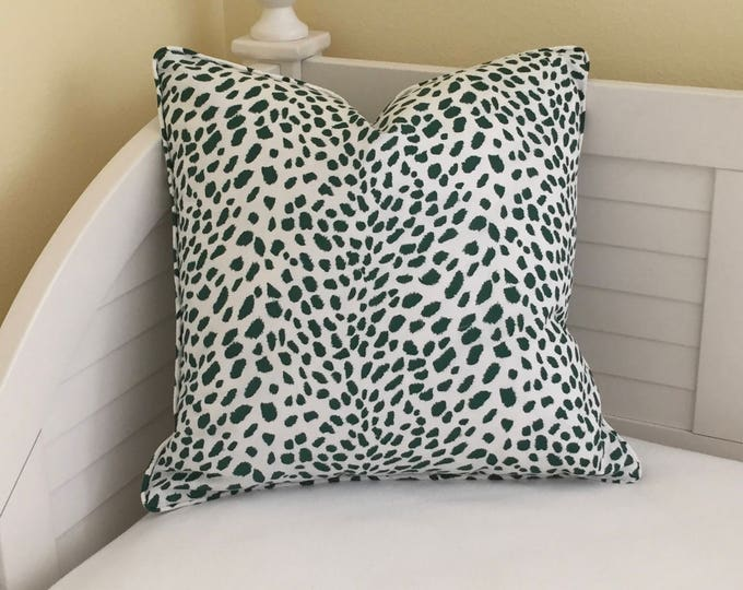 Robert Allen Leopard Path in Billiard Green  (on both sides) Designer Pillow Cover with or without Piping - Square, Euro and Lumbar Sizes