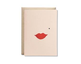 Lips Letterpress Greeting Card