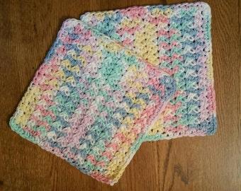 Pastel Crochet Cotton Dishcloth