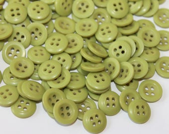 Green buttons, lot of 50 green color round 4 hole 12 mm sewing shirt buttons, craft buttons, green plastic buttons, embellishments