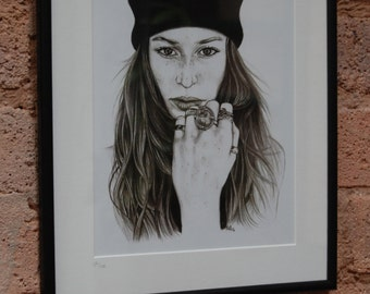 Girl With Freckles and Beanie Framed Art Print