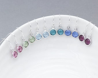 Birthstone earrings -Swarovski earrings - birthday earrings - birthday gift- gift for mum - gift for her - swarovski  - birthstone gift
