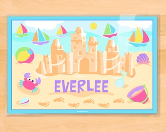 Olive Kids Personalized Girls Sand Castle Placemat, Kids Placemat, Summertime Placemat, Beach Placemat, Laminated Placemat