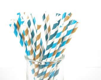 Cookie Monster Paper Straws - Set of 25 Straws - Birthday Party - First Birthday