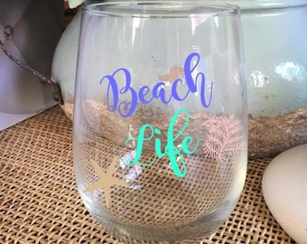 Beach Life Beach Gift Stemless Wine Glass Wine Cup Best Friend Gift Girls Weekend Gift for Beach House Birthday Gift  Personalized