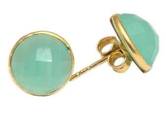 925 Sterling Silver Aqua Chalcedony Round 12mm  Gemstone Women's Stud Earrings