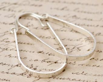 Hoop Earrings, Sterling Silver Hoop Earrings, Modern, Boho, Thick Oval Hoops, Hammered, Textured