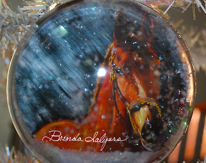 "American Pharaoh Christmas Ornament 4"" Round Acrylic Kentucky Triple Crown Winner"