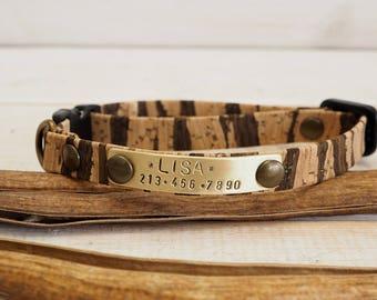 Cat Collar, Dog Collar, Breakaway Collar, Cat Collar Breakaway, Cork Collar, Vegan Gift, Adjustable Collar, Personalized Collar, Pet id tag